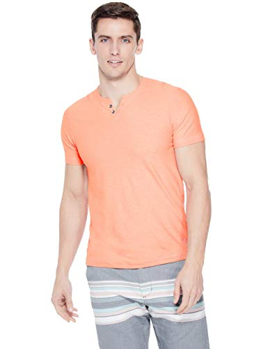 GUESS Factory Men's Ricky Slub-Knit Henley - Mens Textured Knit Henley