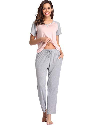 (Lusofie Pajamas Set Women Henley Sleepwear Short Sleeve Shirts with Long Pants 2PCS Loungewear (Pink, M))