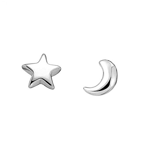 top quality 100% Pure 925 Sterling Silver platinum moon star stud earrings fashion jewelry GSE053