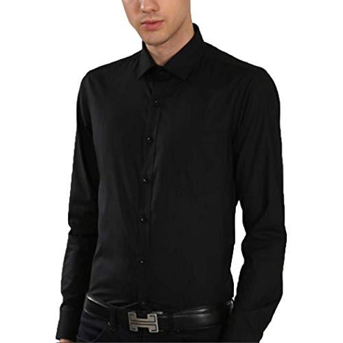 (Men's Modern Fit Pure Color Long Sleeve Barrel Cuff Cotton Dress Shirt)