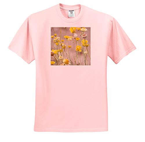 3dRose Jos Fauxtographee- Wild Yellow Flowers Accented - Wild Yellow Flowers on Stems with an Accented Edge - T-Shirts - Toddler Light-Pink-T-Shirt (3T) (ts_291093_48)
