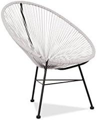 Acapulco silla blanca Sillón metálico cuerdas blancas para jardín, terraza, balcón, terrado, exterior, hostelería. 1 unidad: Amazon.es: Hogar