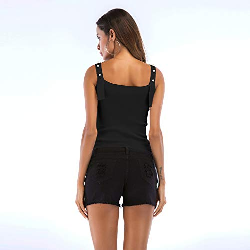 Noir Tunique Crop Tops Sans shirts T Sexy Polo Perlé Cutude Chemise Tunic Gilet Chemisier Femme Manche Zn16wFg0