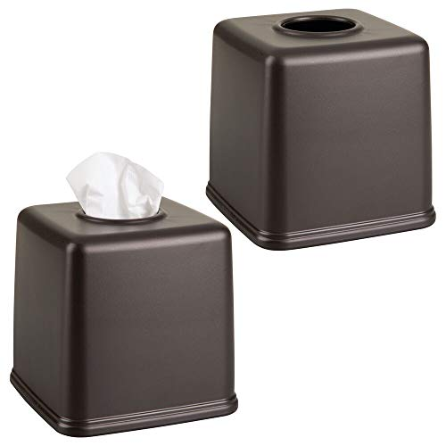 (mDesign Plastic Square Facial Tissue Box Cover Holder for Bathroom Vanity Countertops, Bedroom Dressers, Night Stands, Desks and Tables - 2 Pack - Bronze)