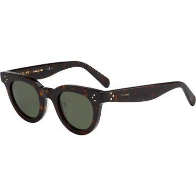 Celine 41375/S 086 Dark Havana 41375/S Round Sunglasses Lens Category 2 Size - Sunglasses Havana