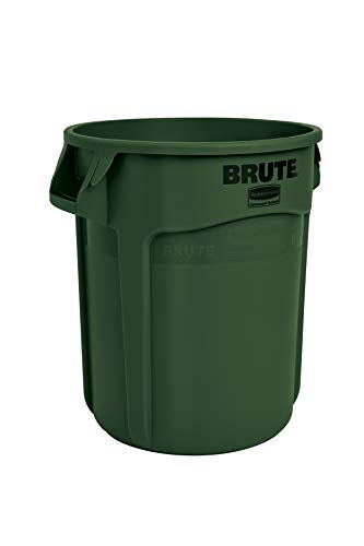 Rubbermaid Commercial Products FG262000DGRN BRUTE Heavy-Duty Round Trash/Garbage Can, 20-Gallon, Green