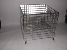Chrome Grid Dump Bin With Adjustable Shelf And Casters by Low Price Fixtures