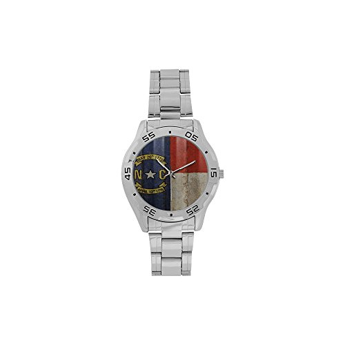 Novelty Gift North Carolina Flag American US State Men's Stainless Steel Analog Watch