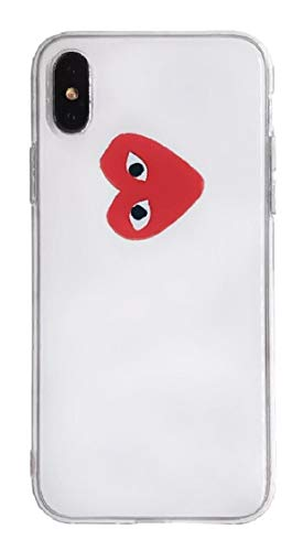 CDG Small Logo Transparent iPhone Case | Hype, Streetwear, Designer, Heart, Stylish | for iPhone 7/8, iPhone 7 Plus/8 Plus, iPhone X/XS, iPhone XR, iPhone Xs Max (iPhone 7/8 Plus)