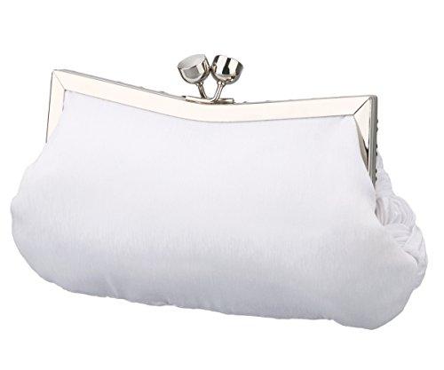 Charming Evening Tailor Wedding Classic Party Bag Woven Women White Clutch Purse 1ZUHwqx1r