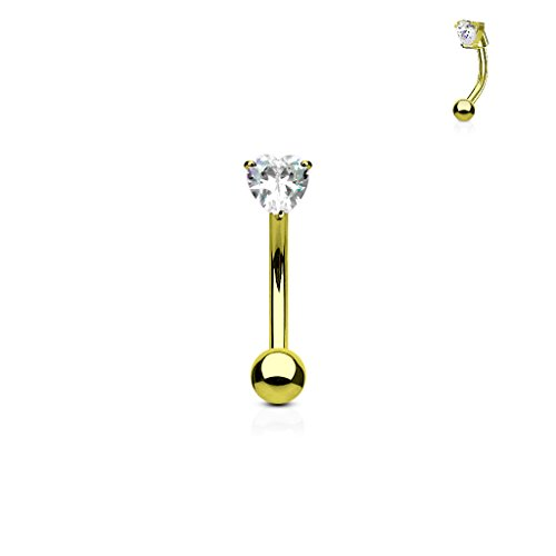 Inspiration Dezigns Gold Eyebrow Ring Belly Ring Clear Heart CZ Prong Curved Barbell