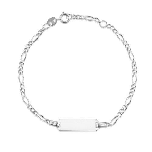 UNICORNJ 14K White Gold Figaro Chain ID Bracelet 6