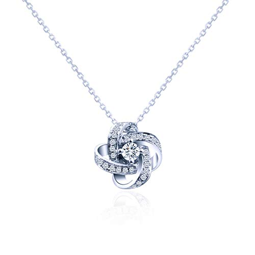 Carleen 18K Solid White Gold Love Knot Diamond Pendant Necklace with a Center Stone Fine Jewelry for Women Girls ()