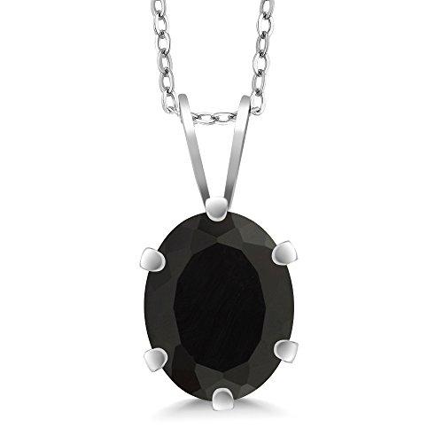 Gem Stone King 1.63 Ct Oval Shape Black Onyx Sterling Silver Pendant