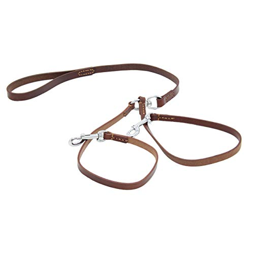 - SIXPETS Double Dog Leather Coupler Leash Dual Dog Leash Durable Dog Leashes 2 Dogs No Tangle Leather Sturdy Metal Material 360° Swivel (2)
