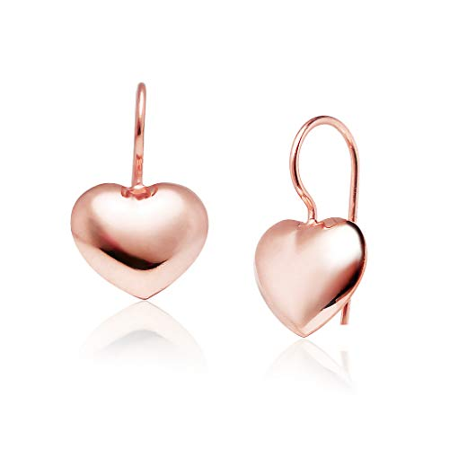 Big Apple Hoops - Genuine 925 Sterling Silver ''Lovely Heart'' Dangle Hook Earrings Delicate, Lightweight and Perfect Design | in 2 Beautiful Polish Finishes (Yellow Gold, Rose Gold)
