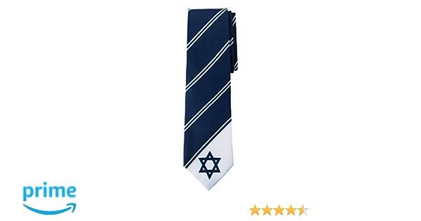 Star of David Tie Blue Jewish  Men/'s 100/% Polyester Necktie Free Shipping