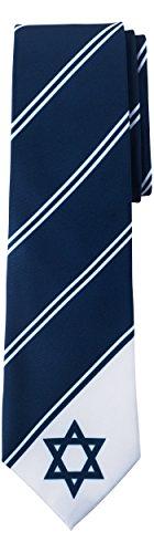 (Jacob Alexander Israel Country Flag Colors Men's Necktie - Navy Star of David Tie Design)