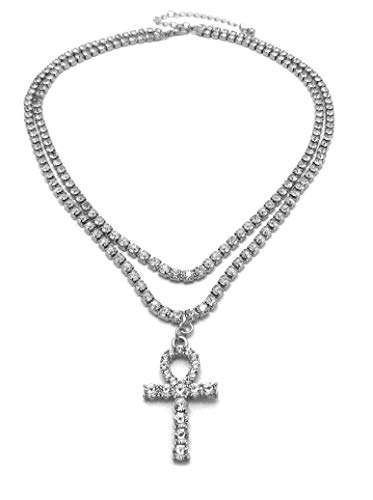 BLINGFACTORY Iced Out Hip Hop Ankh Cross Pendant w/ 3mm 16