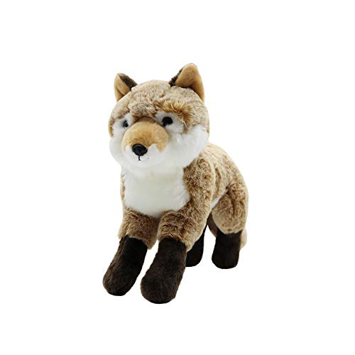 (Huhu Ma 10'' Plush Toy Fox, Simulated Animal Stuffed Toy, Stuffed Fox, Children's Birthday Gifts (Brown))