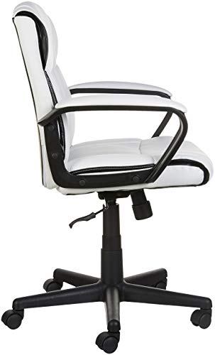 AmazonBasics Classic Leather-Padded Mid-Back Office Chair with Armrest - White by AmazonBasics (Image #4)