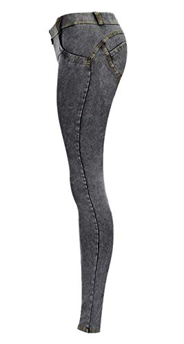 Estiramiento Las Lápiz Color Stretch Grey Slim Delanteros Mujeres Sólido Botones Mezclilla Pitillo Pantalones Fit De Con Cintura Vaqueros Baja xwqHRABI