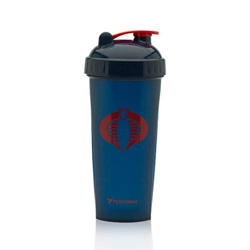 (PERFORMA Perfect Shaker - GI JOE Series, Best Leak Free Bottle With Actionrod Mixing Technology For Your Sports & Fitness Needs! Dishwasher and Shatter Proof (Cobra Blue))