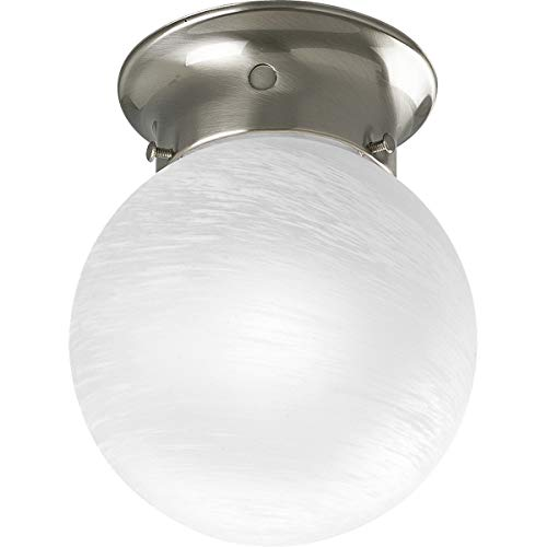 (Progress Lighting P3401-09 Ceiling Fixture with White Glass Globe, Brushed Nickel)