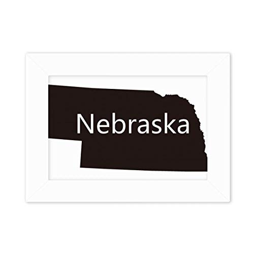 DIYthinker Nebraska America USA Map Silhouette Desktop Photo Frame White Picture Art Painting 5x7 inch