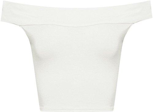 Islander Fashions Womens Plain Off Shoulder Top Top Donna Senza Maniche Bardot Fancy Vest T Shirt S/M, M/L Cream