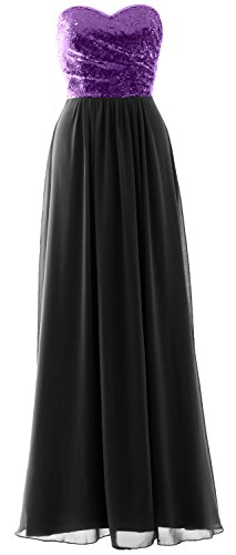 Purple MACloth Formal Dress Bridesmaid Party Sequin Long Chiffon Black Elegant Strapless Gown pwpAqxva