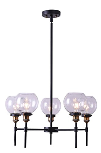 Primo 5 Light Industrial Hanging Chandelier Antique Brass Linea di Liara - Chandelier Five Light Brass Antique