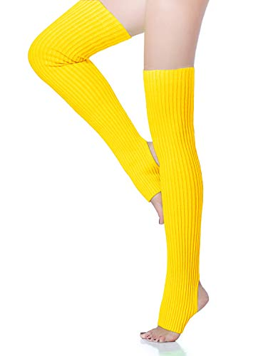 V28 Women Over Knee Cable Knit Ribbed Crochet Long Boot Leg Warmers (H71 Yellow)