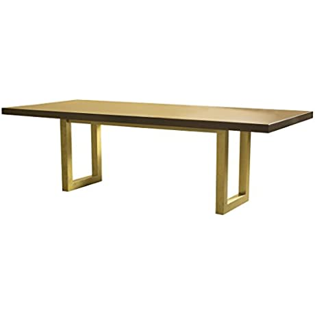 Saloom Furniture MDWS 4296 EME Aurora Gold Emerson 42 X 96 Rectangular Maple Dining Table 42 X 96 Aurora Top Finish With Burnished Gold Base