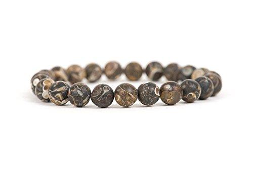 Matte Turritella Snail Fossil Bracelet, Gemstone Bracelet, Stacking Beaded Bracelet