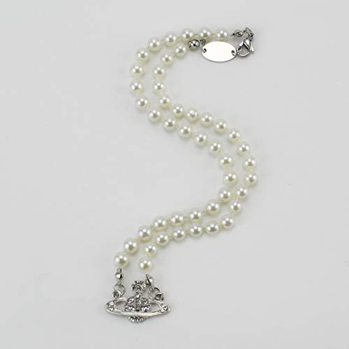 Saturn Pearl Necklace Crystal Saturn Pendant Choker Women Charm Jewelry Necklace