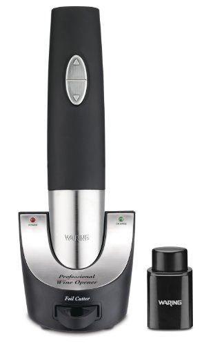 Waring Pro WO50B Cordless Wine Opener with Vacuum Sealer and Foiler Cutter, Black image