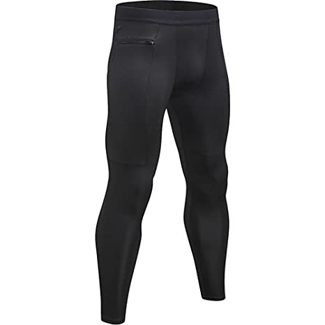 Yuerlian 1 Pack Mens Compression Leggings Cool Dry Sport Pants Running Gym Tights with Zip Pocket