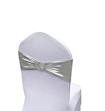 Admirable Chair Cover Stretch Band With Buckle Slider Sashes Bow Wedding Banquet Party Chair Decoration 10Pcs Metallic Silver Beatyapartments Chair Design Images Beatyapartmentscom
