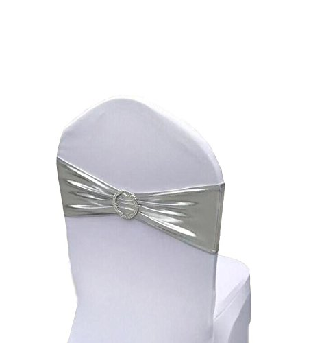 Chair Cover Stretch Band With Buckle Slider Sashes Bow Wedding Banquet Party Chair Decoration 10PCS (Metallic ()