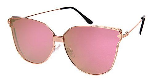 Edge I-Wear Metal Cat Eye Sunnies with Flat Color Mirror Lens 3107-FLREV-2(RG/PK - Slight Eye Sunglasses Cat