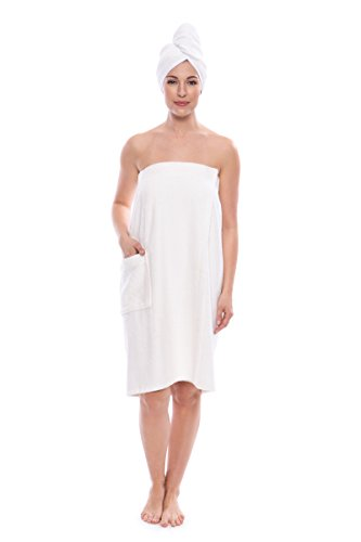 - Women's Towel Wrap - Bamboo Viscose Spa Wrap Set by Texere (The Waterfall, Natural White, Small/Medium) Pampering Gift Ideas for Women and Teenage Girls WB0103-NWH-SM
