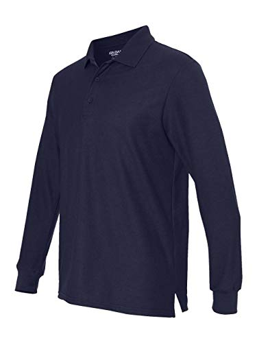 Gildan Men's Premium Ribbed Cuff Long-Sleeve Tech Polo, XXX-Large, Navy