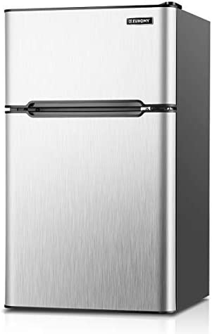 Euhomy Mini Fridge with Freezer, 3.2 Cu.Ft Mini fridge with freezer, Dorm refrigerator with freezer 2 door For Bedroom/Dorm/Apartment/Office - Food Storage or Cooling Drinks(Silver).