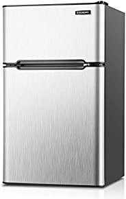 Euhomy Mini Fridge with Freezer, 3.2 Cu Ft 2 Door Upright Compact Refrigerator with Freezer Ideal Food and Dri