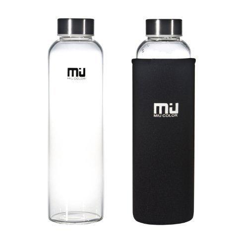 MIU COLOR® Stylish Portable Real Borosilicate Glass water Bottle with black Nylon Sleeve, 550ml