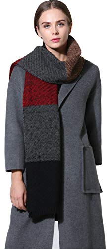 Women Men Winter Thick Cable Knit Wrap Chunky Warm Scarf All Colors Cont Black ()