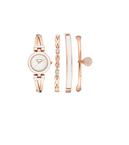 Anne Klein Women's Bangle Watch and Premium Crystal Accented Bracelet Set