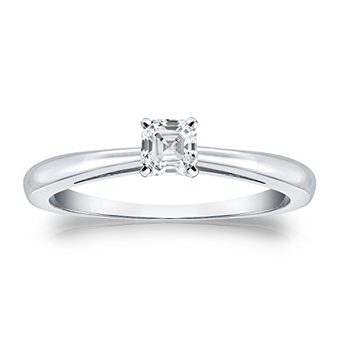 - Diamond Wish 18k White Gold Asscher-cut Diamond Solitaire Ring (1/3 carat TW, White, SI2-I1) 4-Prong, Size 9