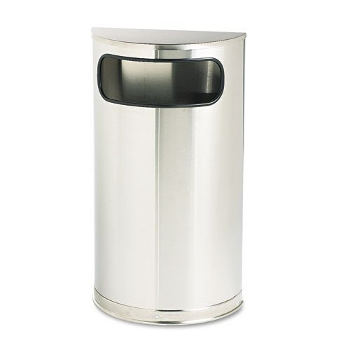 Rubbermaid Commercial European and Metallic Series Receptacle, Half-Round, 9 Gallons, Satin Stainless (SO8SSSPL)